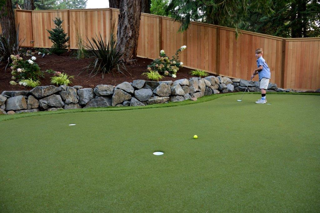 Image of a Tigard Backyard Putting Green Design and Installation by Drake's 7 Dees